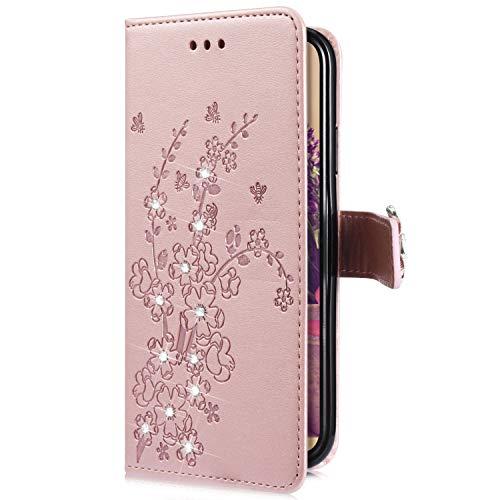 Uposao Kompatibel mit Samsung Galaxy A7 2018 Handytasche Handy Hülle Schmetterling Blumen Bling Glitzer Diamant Muster Klapphülle Flip Case Cover Schutzhülle Brieftasche Leder Tasche,Rose Gold
