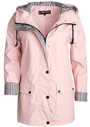 Urban Republic Women's Lightweight Vinyl Hooded Raincoat Jacket, Baby Pink, Medium'