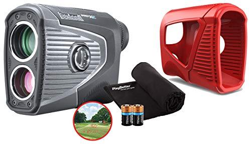 Bushnell Pro XE Golf Laser Rangefinder Bundle | with Protective Skin (Red, Microfiber Towel and Extra CR2 Battery | Golf GPS Rangefinder | BITE Cart Mount, Yardage, Slope with Elements | 201950