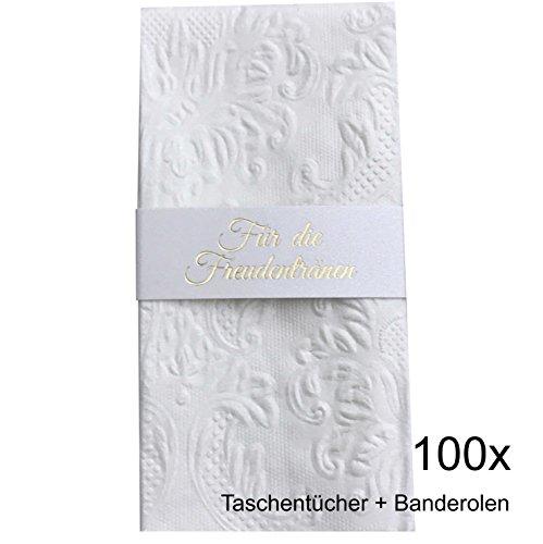 KATINGA Taschentücher (Ornament Pearl) + Banderolen mit Goldprägung für Freudentränen auf der Hochzeit (100)
