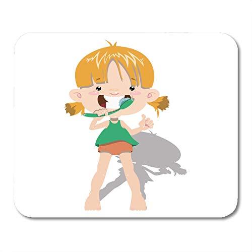 De baby reinigt de tanden Het meisje de kneuzingen met tandpasta voor de stomatologische kliniek hygiëne muismat voor de muis