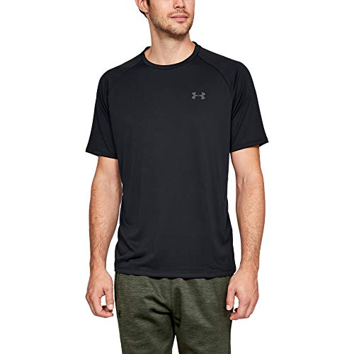 Under Armour Herren Ua Tech 2.0 Short Sleeve Tee atmungsaktives Sportshirt T-Shirt, Schwarz (Black/Graphite 001), XX-Large
