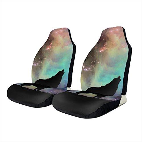 KDU Fashion autostoelhoezen, stoelhoezen voor auto, silhouette wolf auto, bestuurdersstoelhoezen voor, kleurrijke druk voor auto, 2 stuks