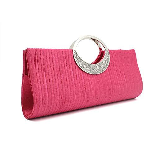 Abyelike Clutch-Geldbörse für Damen, luxuriös, Strass, Satin, plissiert, Abendveranstaltung, Hochzeit, Party, Handtasche, Pink - rose - Größe: Small