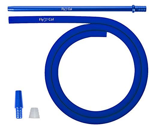 FlyCol Basic Shisha Schlauch Set universal für alle Wasserpfeifen | Silikonschlauch Shishaschlauch Schlauchset mit Adapter Mundstück | Zubehör (Blau)