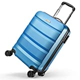 reyleo maleta de cabina rígida ligera equipaje de mano de abs con 4 ruedas duales giratorias, candado de combinación 55 * 35 * 22cm - azul - 33l