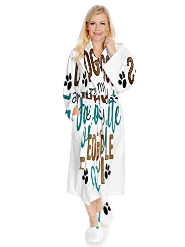 Best Friends Saying Robe,Keep Warm Sleepwear Long Robe Soft Plush Bathrobes Warm Lightweight Nightgown,Dogs are My Favorite People Positive Phrase Brush Calligraphy Love Your-(Small-Medium-Large)