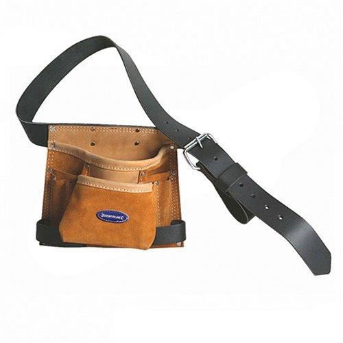 Silverline 675030 Werkzeug- und Nageltasche aus Leder, 8 Fächer 260 x 230 mm