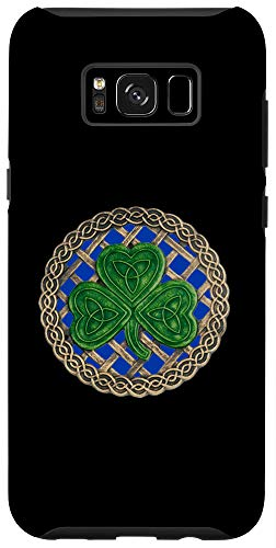Galaxy S8+ Green Shamrock, Celtic Knot With Blue Background Case