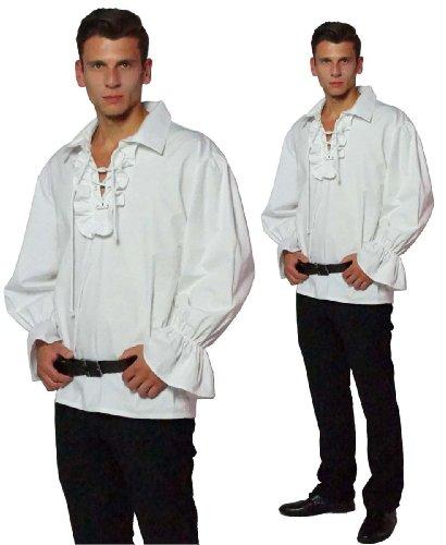 Maylynn - Chemise à Jabot - médiéval/Pirate - Coton - Blanc - XL