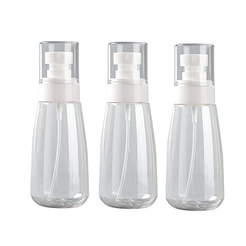 TFTREE Spray Flacons Clear Empty Fine Mist Plastic Mini Travel Bottle Set, small reillable liquid containers (pack of 3) Great for Dispensing Lotions