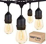 Outdoor String Lights LED 100FT Commercial Grade Heavy Duty Light String Lights with 30 Sockets 32 Shatterproof Plastic Bulbs Include 2 Spare S14 Dimmable Edison Bulbs Patio Market Cafe String Lights
