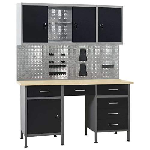 vidaXL Werkbank mit 4 Werkzeugwänden 2 Wandschränken Werkzeugschrank Werktisch Montagewerkbank...
