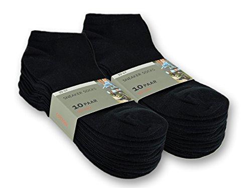 sockenkauf24 10 bis 100 Paar Sneaker Socken Baumwolle Damen & Herren Schwarz & Weiß 39-42 (Herren), 20 Paar | Schwarz