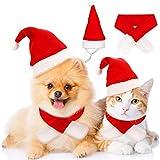 Reofrey Conjunto de Disfraz de Navidad para Mascotas, Gorro y Bufanda de Papá Noel, Disfraz Ajustable para Mascotas pequeñas, Gatos, Perros, Fiestas, Año Nuevo, Ropa de Vestir (2 Unidades)