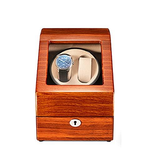 ZCXBHD Enrollador de Reloj Para Relojes Automáticos Madera de Acabado de Piano Exterior de Fibra de Carbono Para 2 Relojes Automáticos con 3 Almacenamientos Adicionales Para Relojes Motores Silencioso