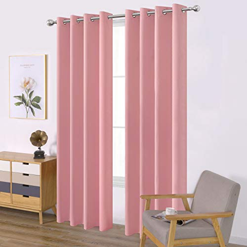LEMOMO Baby Pink Bedroom Blackout Curtains/52 x 84 Inch Long/Set of 2 Curtain Panels/Thermal Insulated Room Darkening Curtains for Bedroom