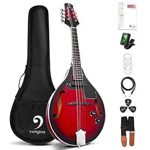 Vangoa A Style Mandoline Acoustique électrique 8 cordes Acajou Mandoline Instrument de Musique avec Kits pour...