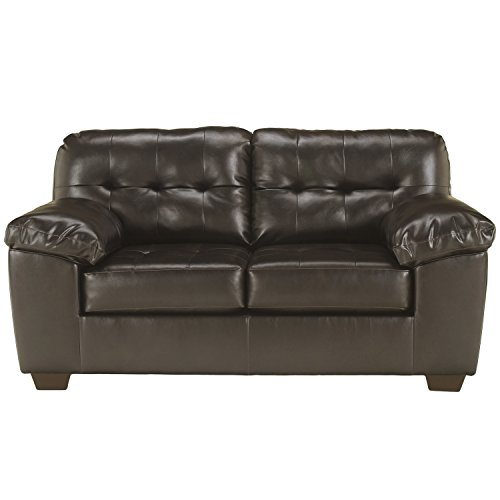 Signature Design by Ashley - Alliston Contemporary Faux Leather Loveseat, Chocolate