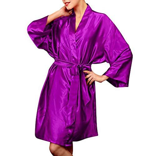 Crystallly dames lange pyjama satijn kimonos nachthemd dames satijn ochtendjas kimono eenvoudige stijl lange badjas pyjama negligé nachthemd nachtkleding ondergoed V-hals