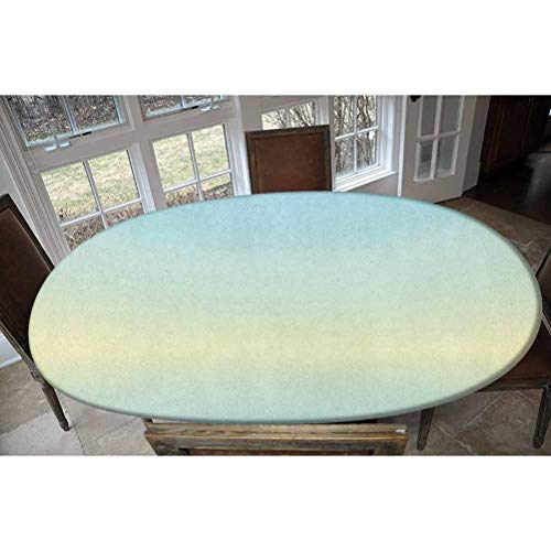 LCGGDB Elastic Polyester Fitted Table Cover,Defocused Abstract Design in The Center Blurred Color Elements Sky Blue Like Artwork Oblong/Oval Elastic Fitted Tablecloth,Fits Tables up to 48' W x 68' L
