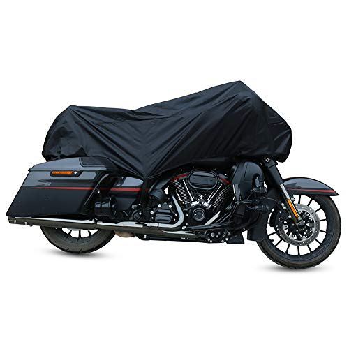 YBZX Motorbike Cover 210D Waterproof Fits Up Multiple Many Motorbikes with Adjuster Buckle UV Scratch Bird Droppings Heat-Resistant Outdoor Protection