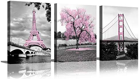 Wall Art for Bedroom Pink Tree Paris Eiffel Tower Golden Gate Bridge Romantic Black and White product image