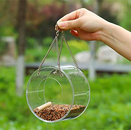 XYXZ Vogelhäuschen Hängende Acryl-Futterbox Anti-Scatter-Papageien-Feeder Mit Ständer Vögel Fütterungszubehör Fütterungsbox Außen A