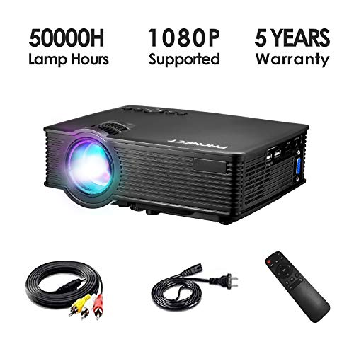 Mini Projector, PHONECT 2019 Upgraded 1080P and 176' Display Video Projector, Home Projector 2400 LUX, Portable Projector with 50,000 Hrs LED Lamp Life, Compatible with TV, PS4, HDMI, VGA, AV, and USB