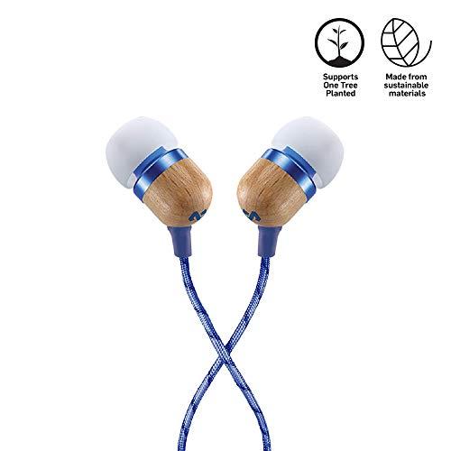 House of Marley Smile Jamaica In-Ear Kopfhörer, 1-Knopf Steuerung, Geräuschisolierung, 9,2mm Treiber, Mikrofon, Gelaufsätze in 2 verschiedenen Größen, verwicklungsfreies Kabel, denim