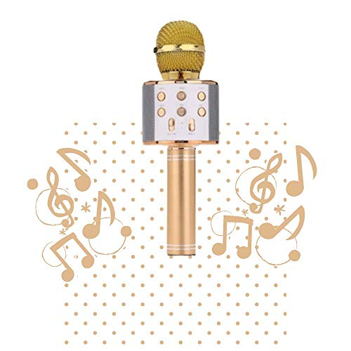 Micrófono Karaoke inalámbrico, micrófono Karaoke USB Bluetooth, portátil, grabación de cambio de voz, luz de disco para niños/adultos cantar, compatible con Android/IOS/PC/Smartphone (Gold)