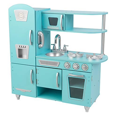 KidKraft Vintage Wooden Play Kitchen with Pretend Ice Maker and Play Phone, Blue, Gift for Ages 3+, Amazon Exclusive