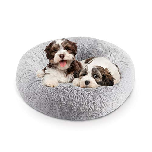 Bathonly Round Pet Bed, Fluffy and Soft 23.6'' Donut Dog Bed for Small Medium Dogs and Cats, Orthopedic Relief Cat Cushion Bed Indoor Use, Self-Warming Pet Pillow Bed, Light Gray
