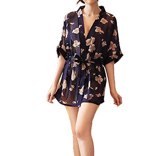 Erotische Jumpsuit chiffon Temptation Blouse nachthemd Rok Sexy pyjama ZHQHYQHHX (Color : Black, Size : ONE SIZE)