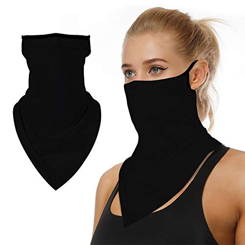Cooling Neck Gaiter with Ear Loops, Summer Face Mask Reusable, UV Protection Scarf Bandana Motorcycle Balaclava for Men Women Black