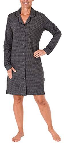 NORMANN WÄSCHEFABRIK Edles Damen Nachthemd Langarm zum Knöpfen in Single Jersey - 281 213 90 350, Farbe:anthrazit-Melange, Größe2:44/46