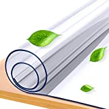 KSHG Upgrade Odorless Table Cover Clear Plastic Desk Protector 40×80 Inch 1.5mm Thickness Waterproof Table Cover Dresser Coffee Dining Table Cover Multi-Size Optional