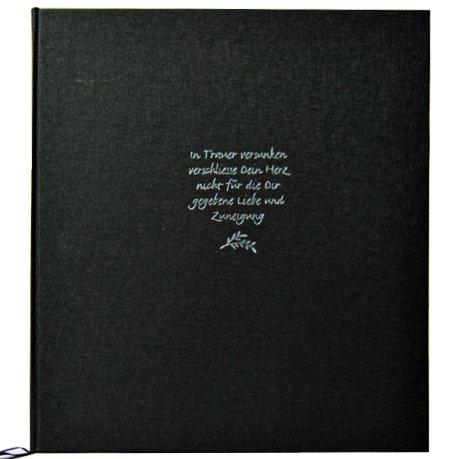 Libro de condolencias, de luto negro cubierta de lino, 22x 24cm, 70páginas color blanco en blanco