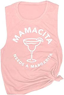 Women's Mamacita Needs A Margarita Tank Tops Casual Sleeveless Graphic Tanks Tops Summer Funny Sleeveless Shirts
