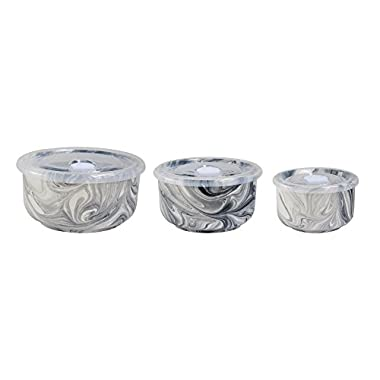 Jay Imports Marble Gray New Bone China Set of 3 Storage Bowls With Airtight Lid