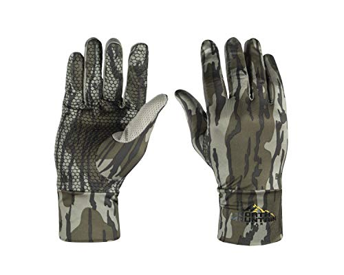 North Mountain Gear Hunting Gloves - Mossy Oak Bottomland Camouflage with Sure Grip Technology for Bow and Shotgun Hunting (Bottomland)