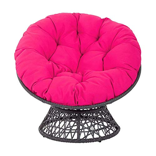 XBSLJ Cotton Overstuffed Papasan Chair Cushion with Ties,Solid Color Round Thick Swing Hanging Basket Seat Cushion for Indoor Outdoor Garden Patio Yard Rose Red 70cm(27.5') Mat only
