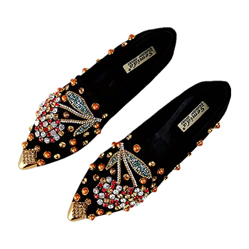 SWYIVY Women Rhinestone Flats Slip On Pointed Toe Sparkle Flats Faux Suede Ballet Embellished Flats Black Size 7