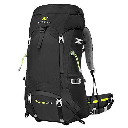 N NEVO RHINO 50L Black Hiking Backpack, Internal Frame Hiking Backpack, Alpine Climbing Backpack, Waterproof Camping Backpacking Daypack Suitable for Women, Men, Child (45+5 L)