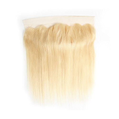 Mila Echthaar Blonde 613# Human Hair Lace Frontal 100% Remy Brazilian Hair Silky Straight/Glatt Free Part (13'×4') Closure with Baby Hair 12'/30cm