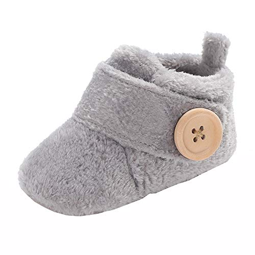 Newborn Baby Girls Boys Slippers Warm Fur Infant Boots Toddler Slip On Booties Grey 6-12 Months