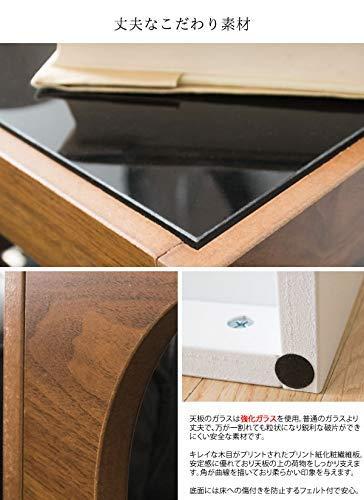 宮武製作所サイドテーブルARCA幅40×奥行き40×高さ52.5cmブラウン3段ガラス天板ST-403BR