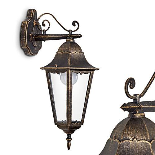 Hong Kong gegoten aluminium wandlamp in bruin-goud - helder glas - hanglamp aan de muur - terraslamp in antieke look - aluminium gevellamp tuin - E27 stopcontact - IP44 - LED geschikt voor