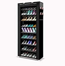 9 Tiers Shoe Rack, Shoe Cabinet Organizer Black