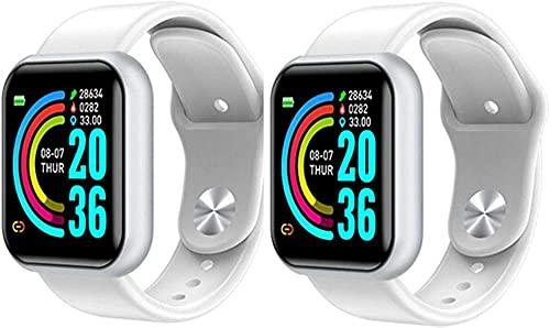 Reloj inteligente Bluetooth para hombre, resistente al agua, podómetro, pulsera inteligente, presión arterial, monitor de frecuencia cardíaca, para iOS y Android, color negro, plateado, 2 unidades